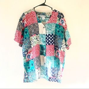 Vintage Silk Exchange Shortsleeve Patchwork Blouse